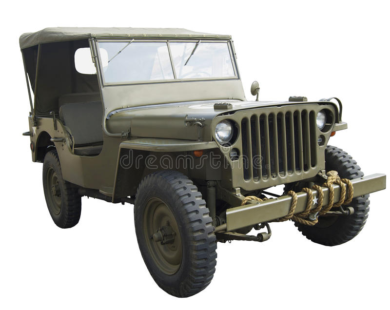WWII amerikanischer Jeep nahe Seitenansicht lizenzfreie stockfotos