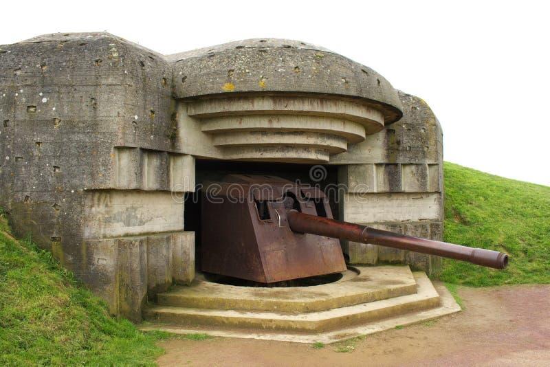 WWII Canon em Longues-Sur-Mer foto de stock