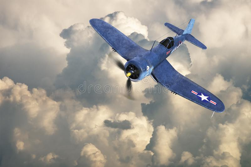 WWII Fighter Plane, War, Military. Illustration of a retro WWII Corsair fighter plane. The military flying weapon of war is called a warbird. Aviation machine stock image