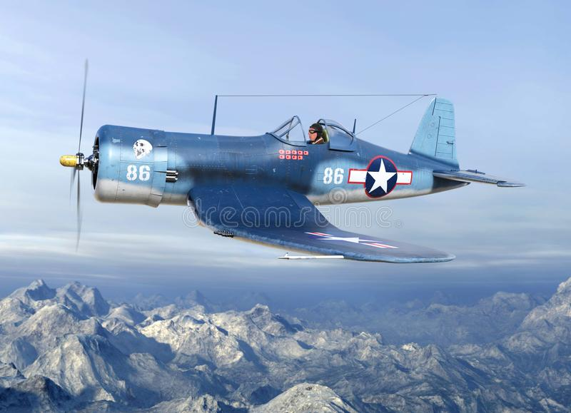 WWII Fighter Plane Warbird Pilot, Military. A WWII World War II fighter plane aviator military pilot flies his airplane into an air battle. The American aviator stock photography