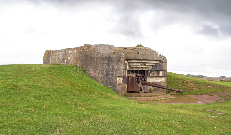 WWII German battery. Remains of a German battery in Normandy WWII royalty free stock image