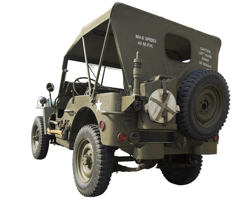 WWII Jeep rear view royalty free stock photo