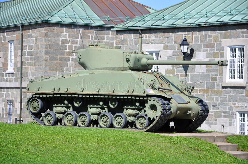 WWII Tank at La Citadelle in Quebec City, Canada. WWII M4 Sherman Tank at La Citadelle in Quebec City, Quebec, Canada stock image