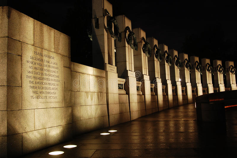 WWII Monument at night in Washington DC. The World War Monument at night in Washington DC stock images