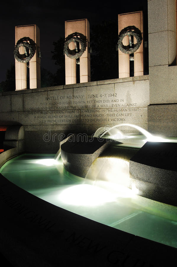 WWII Monument at night in Washington DC. The World War Monument at night in Washington DC stock photography