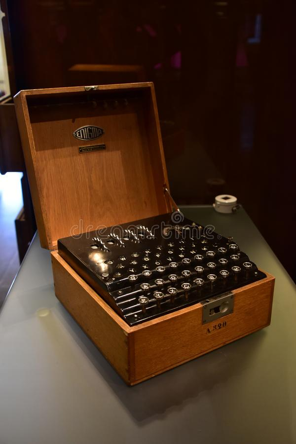 WWII niemiec Enigma utajniania maszyna fotografia royalty free