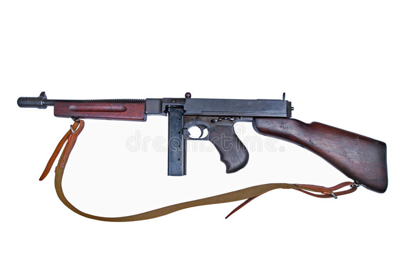 WWII period Tommy-gun. Isolated on white background royalty free stock photo