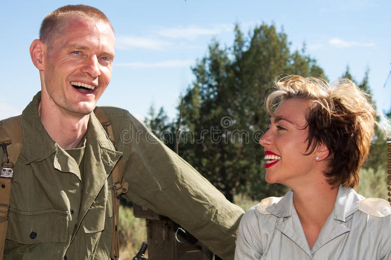 WWII soldier and nurse royalty free stock image