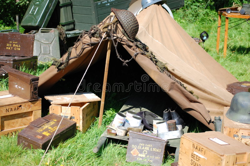 Download WWII Tent and ammo boxes stock photo. Image of boxes, relics - 3150318
