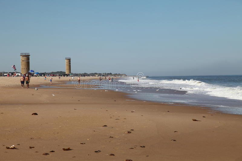 WWII towers at Gordons Pond Rehoboth Beach, Delaware stock image
