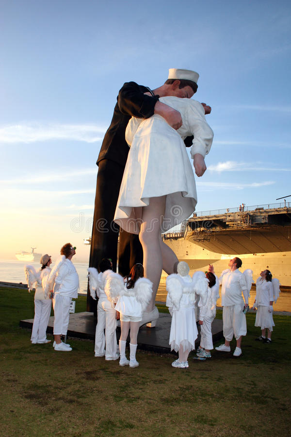 The KISS WWII Unconditional Surrender Statue, San Diego. The harbor in San Diego has one of the replicas of the famous Navy sailor and a nurse The Kiss sculpture stock photo