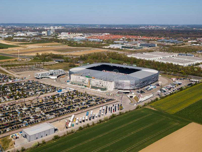 WWK arena - the official football stadium of FC Augsburg. Augsburg, Germany - April 20,2019: Aerial view of WWK arena - the official football stadium of FC royalty free stock photo