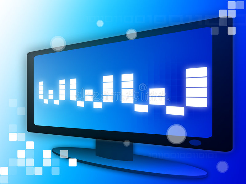 Www. Futuristic monitor with www digited vector illustration