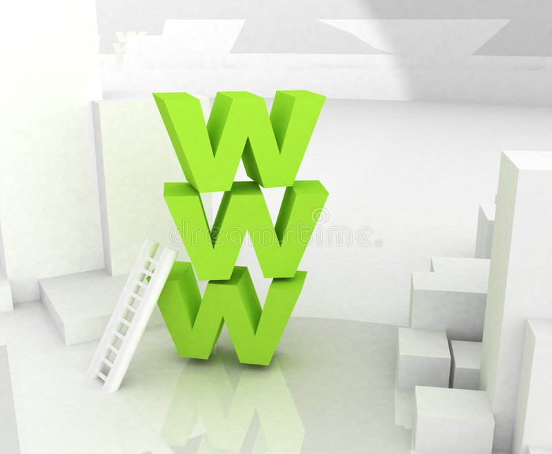 Www 3D text. Abstract background
