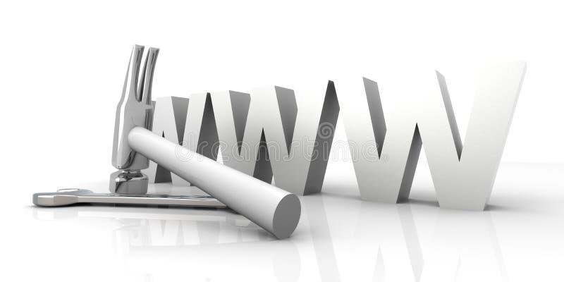 WWW - in aanbouw stock illustratie
