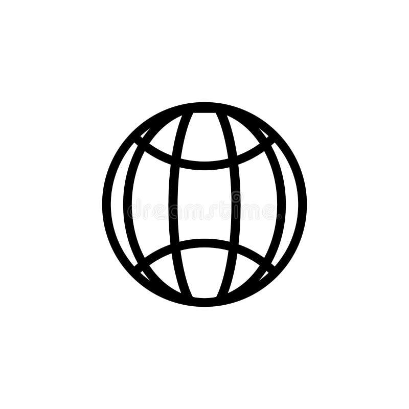 WWW-Adre?http-Ikone lokalisierte Modernes einfaches flaches Kugelzeichen Karte mit beschrifteten Kontinenten Modisches Sozialvekt vektor abbildung