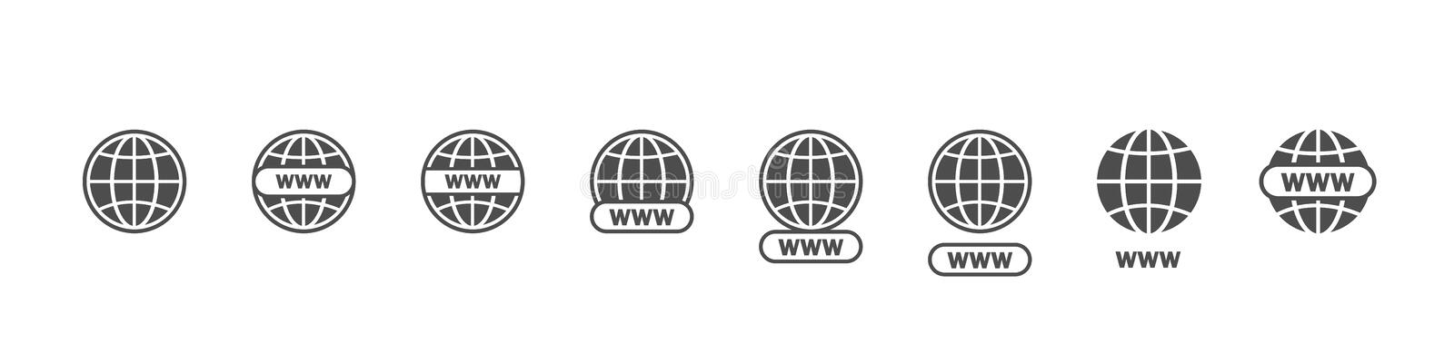 Www big set vector icons. Website icons. Online website or internet flat vector icon. Www vector icons. Website icons for apps royalty free illustration