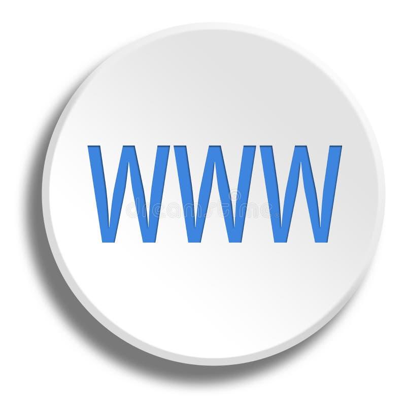 WWW bleu dans le bouton blanc rond avec l'ombre illustration stock