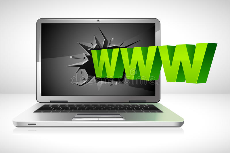 WWW Coming Out Of Laptop Royalty Free Stock Photo