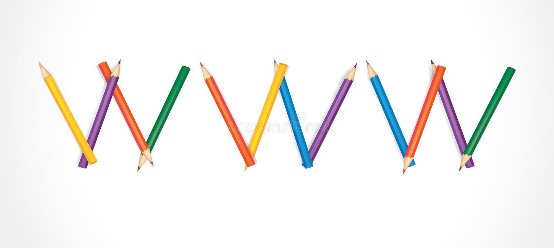 WWW comps de lápis coloridos ilustração do vetor