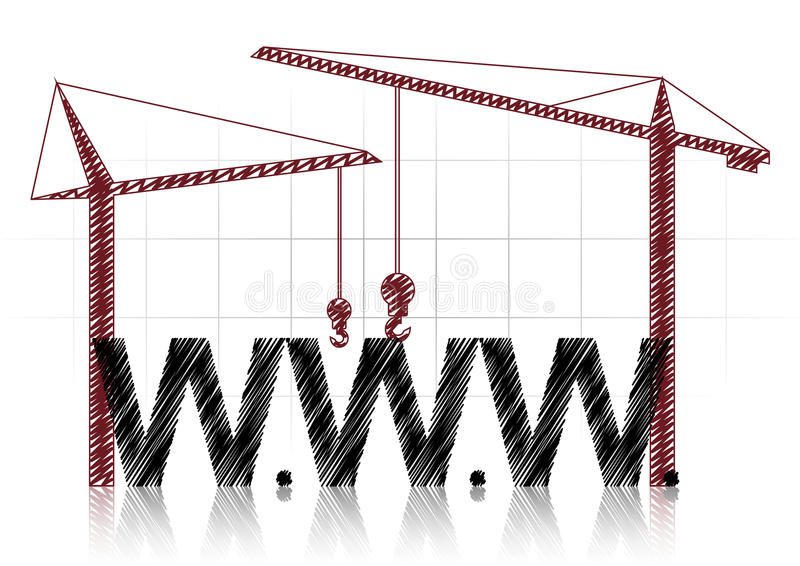 Www cranes. Illustration of www text with two cranes stock illustration