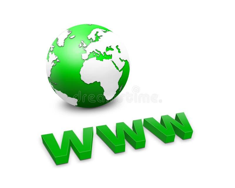 WWW e um globo do mundo ilustração stock