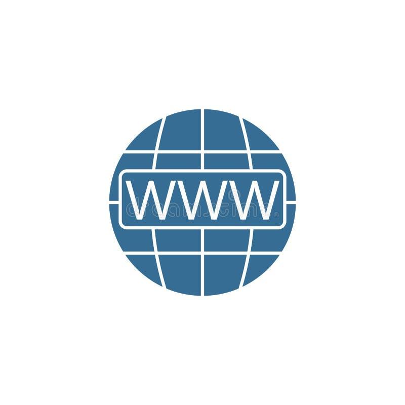 Www en bol het vlakke pictogram van Internet, Websitebrowser vector illustratie