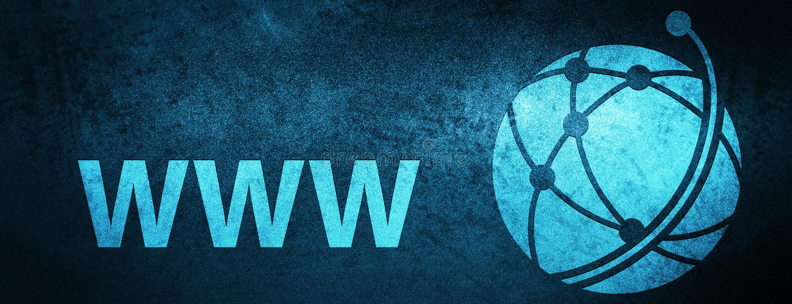 WWW (global network icon) special blue banner background. WWW (global network icon) isolated on special blue banner background abstract illustration vector illustration