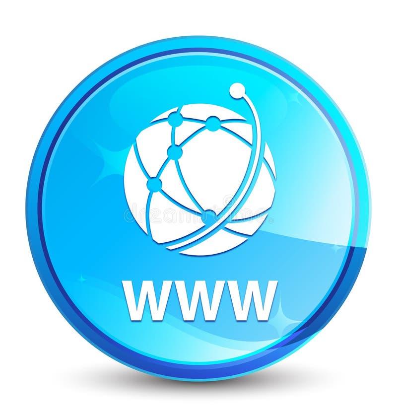 WWW (global network icon) splash natural blue round button. WWW (global network icon) isolated on splash natural blue round button abstract illustration royalty free illustration