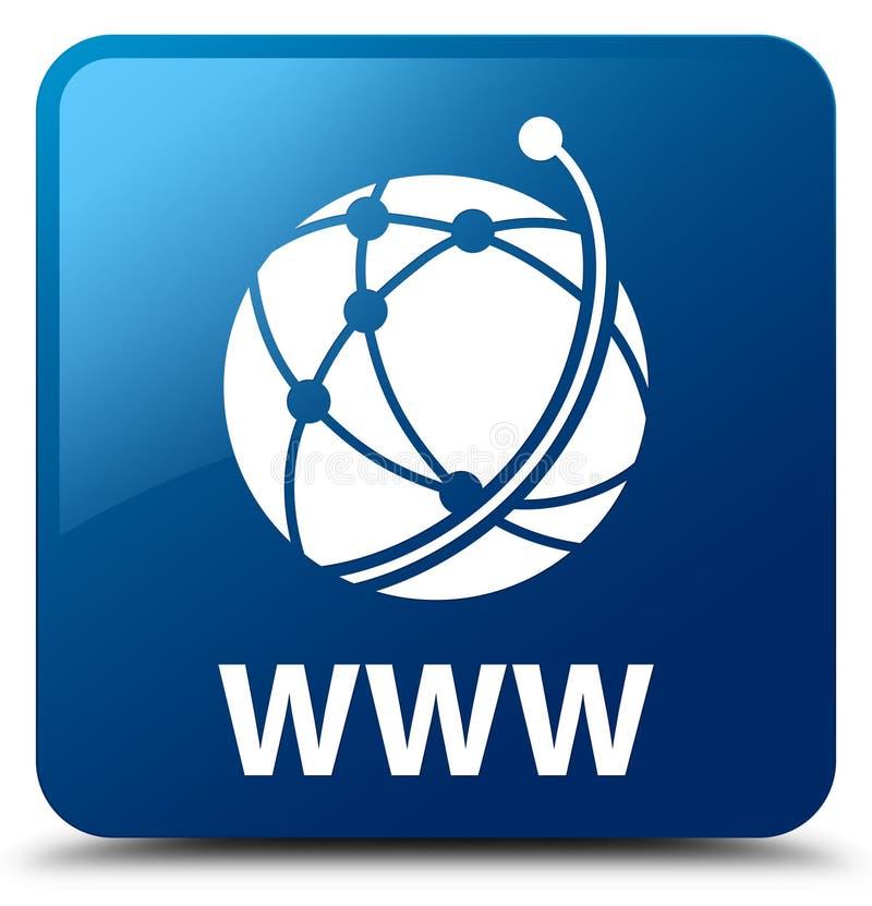 WWW (globalnej sieci ikona) błękita kwadrata guzik ilustracji