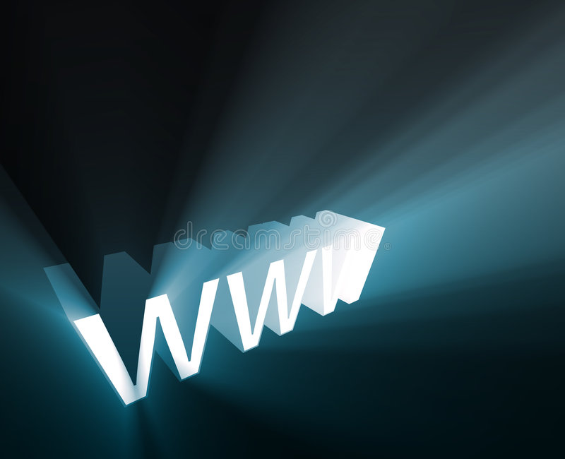 WWW glowing. WWW internet word graphic, with glowing light effects royalty free illustration