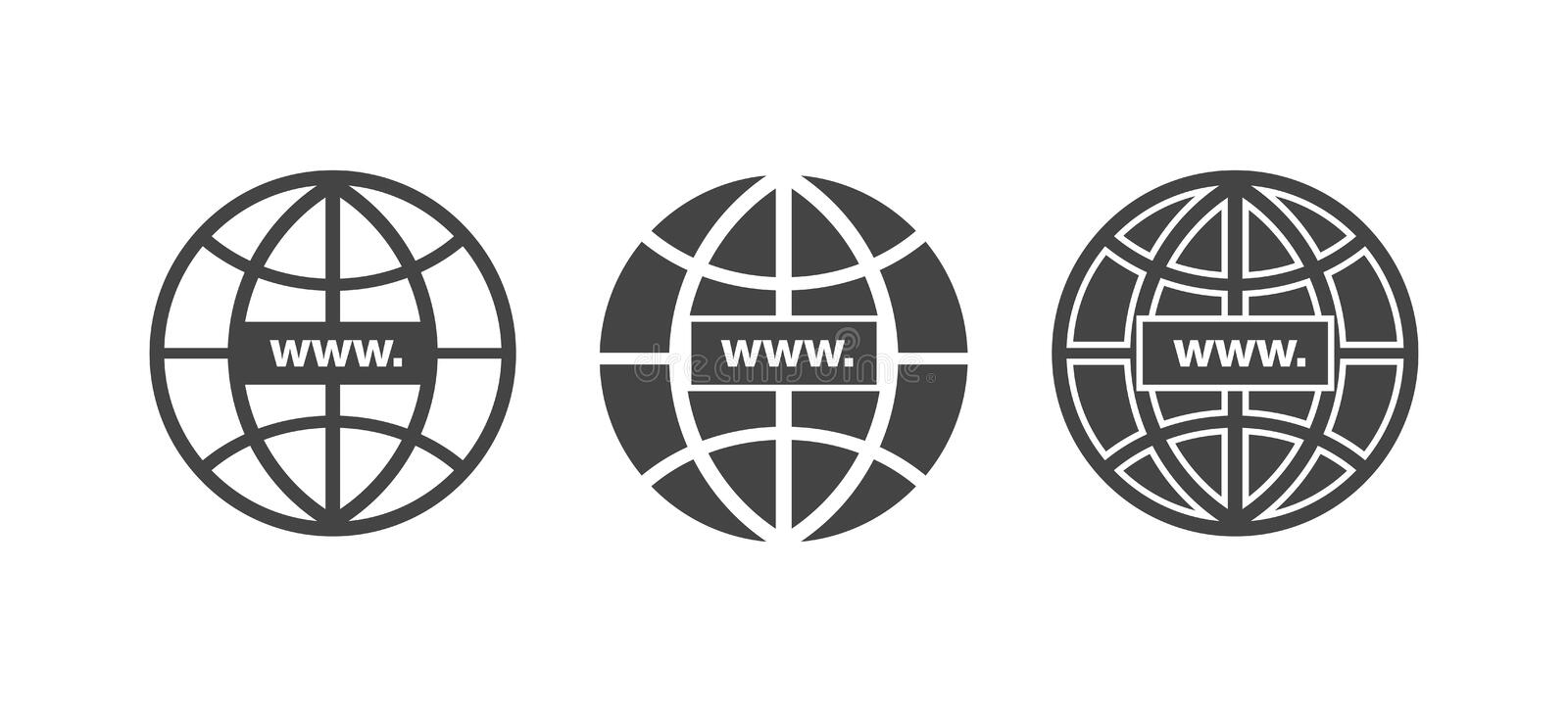 WWW icon. Website icon. Host server icons. In globe style. WWW icons in flat and linear style. vector stock illustration