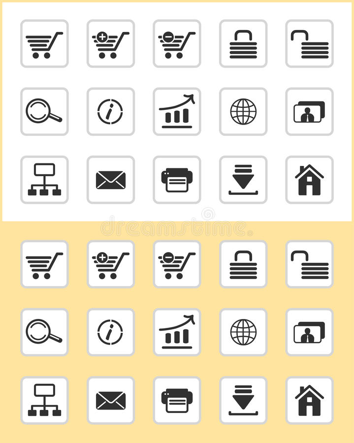 WWW icons. Set of e-commerce icons for internet site design royalty free illustration