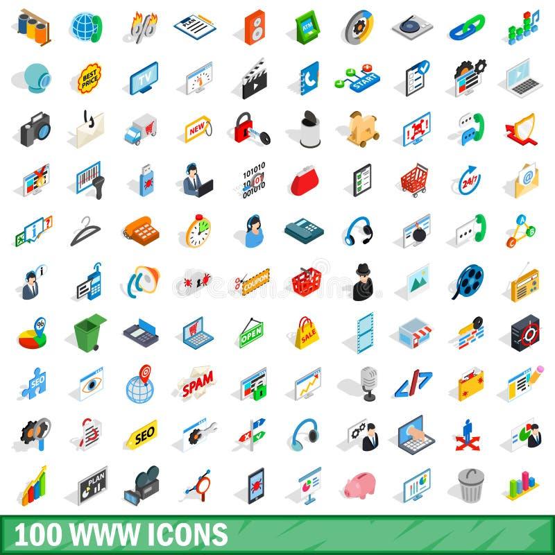 100 Www ikon ustawiających, isometric 3d styl ilustracji