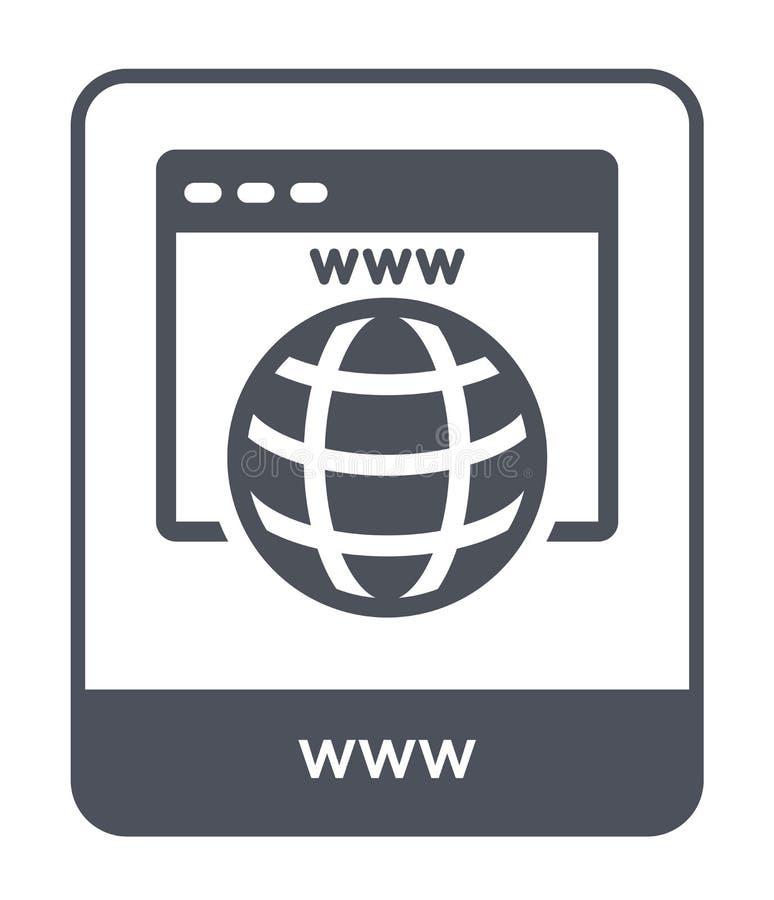 WWW-Ikone in der modischen Entwurfsart WWW-Ikone lokalisiert auf weißem Hintergrund einfaches und modernes flaches Symbol der WWW stock abbildung