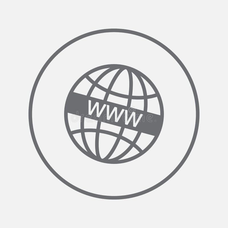 WWW-Ikonenvektor, feste Illustration, Piktogramm lokalisiert auf Grau stock abbildung