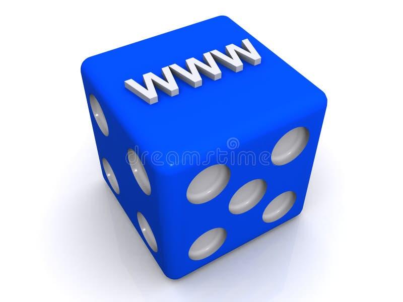 WWW interneta listy na Błękitnych kostka do gry royalty ilustracja
