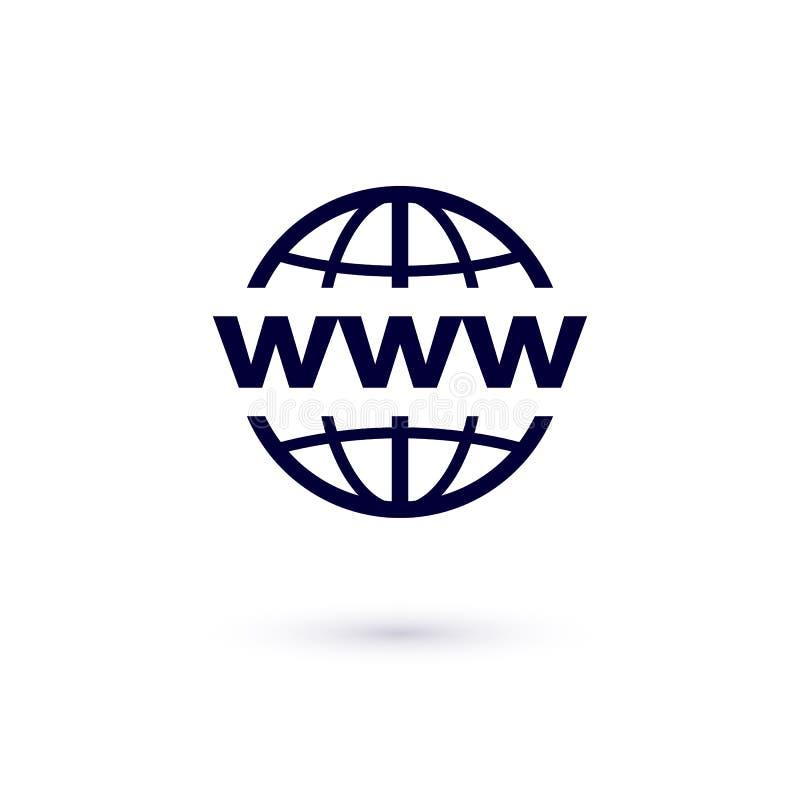 WWW lägenhetsymbol Vektorbegreppsillustration för design bred värld för symbolsrengöringsduk royaltyfri illustrationer