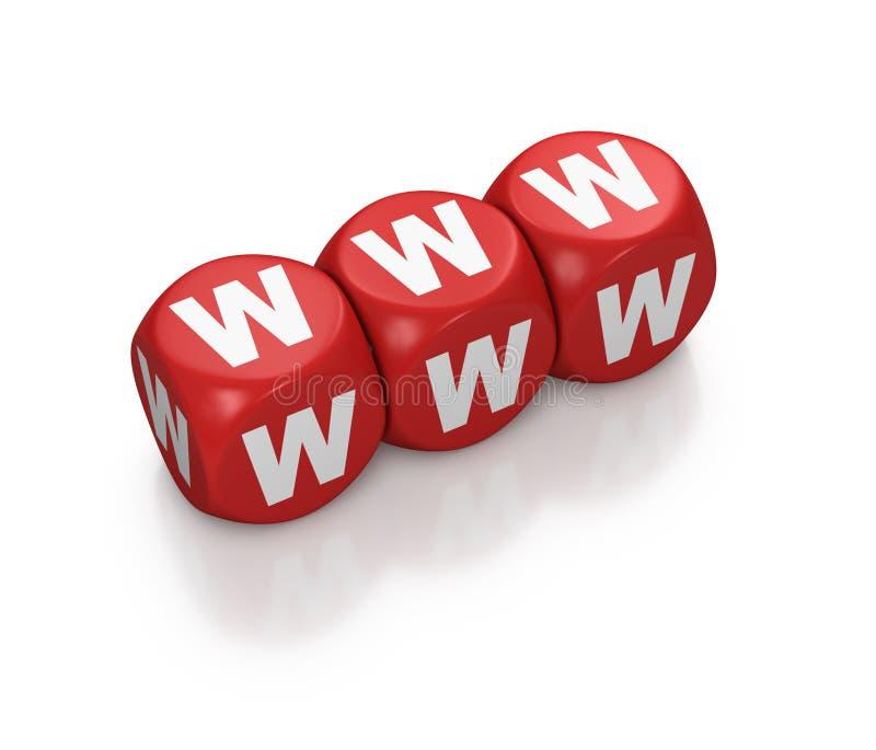 WWW o World Wide Web come dadi rossi illustrazione di stock
