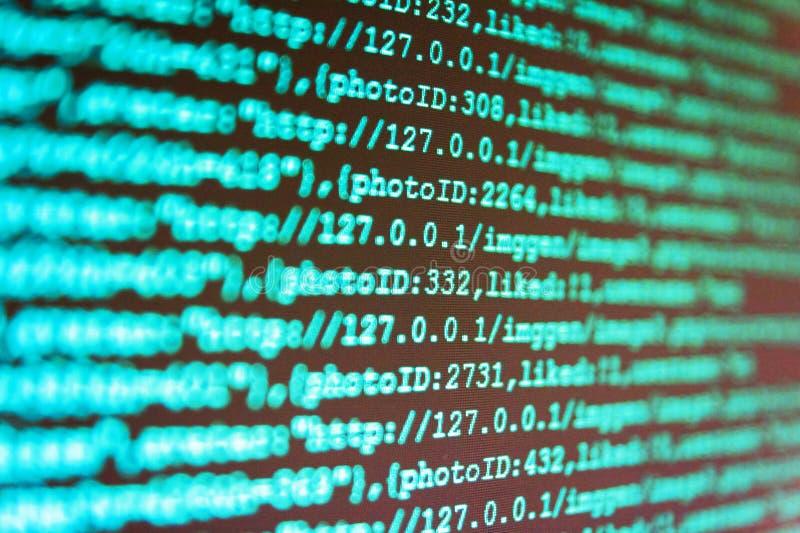 WWW programvaruutveckling Programvaruutveckling Pytonorm som programmerar bärarekod Närbild för källkod arkivbild