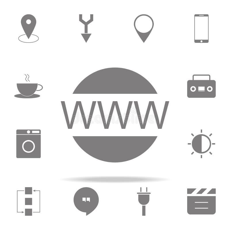 Www sieci ikona sieci ikon ogólnoludzki ustawiający dla sieci i wiszącej ozdoby ilustracja wektor