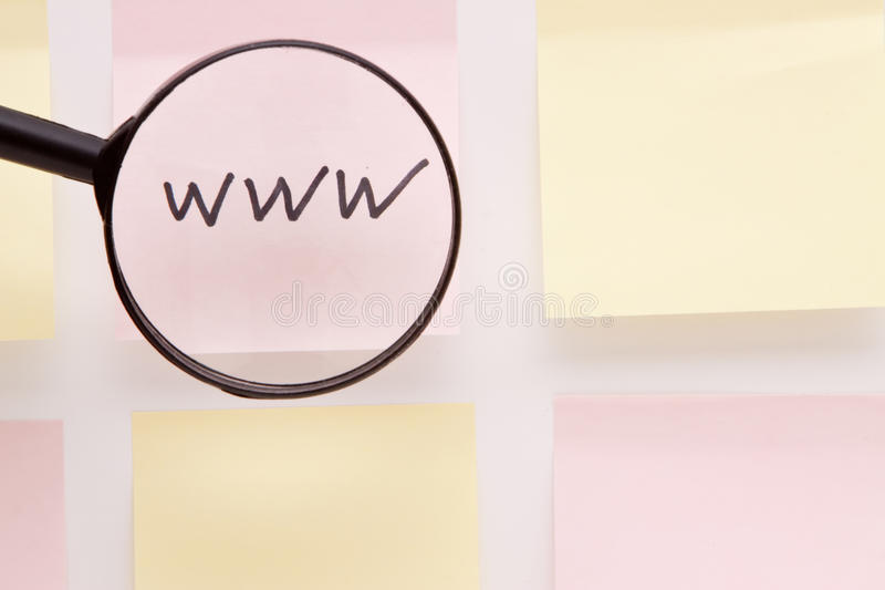 WWW sur la note de post-it photos libres de droits