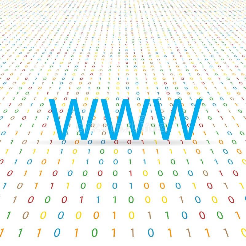 WWW-symbool op een digitale achtergrond royalty-vrije illustratie