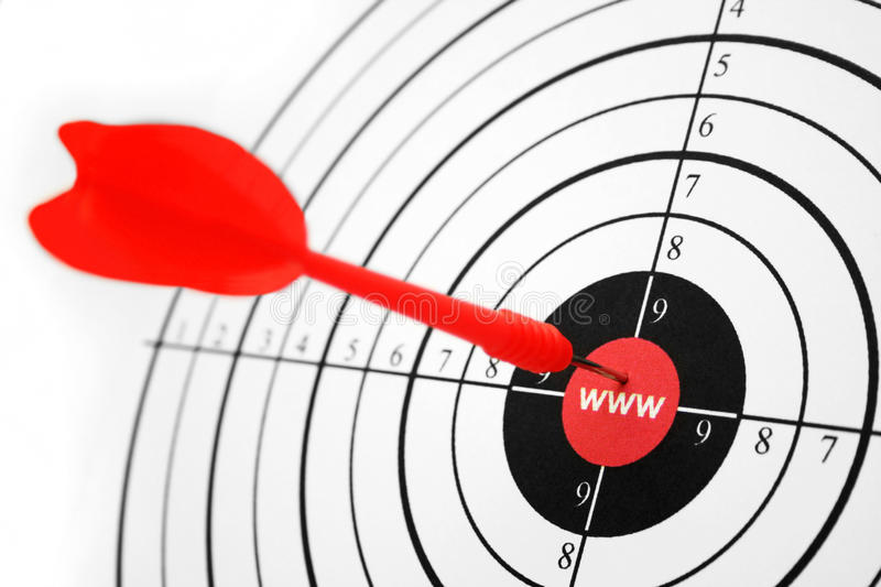 WWW target. Close up dart on internet target