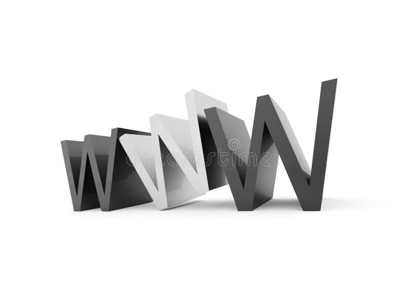 WWW text som isoleras på vit bakgrund royaltyfri illustrationer