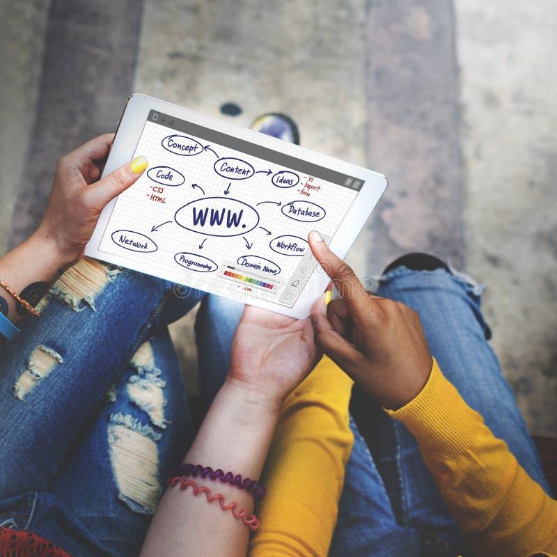 WWW-Verbindungs-Datenaustausch-Internet-Konzept stockbild