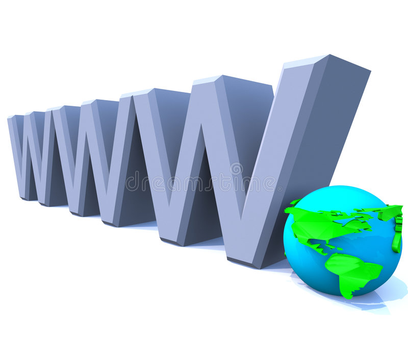 Www World Wide Web Internet with Globe - America. 3D model render of the letters www, representing the World Wide Web stock illustration