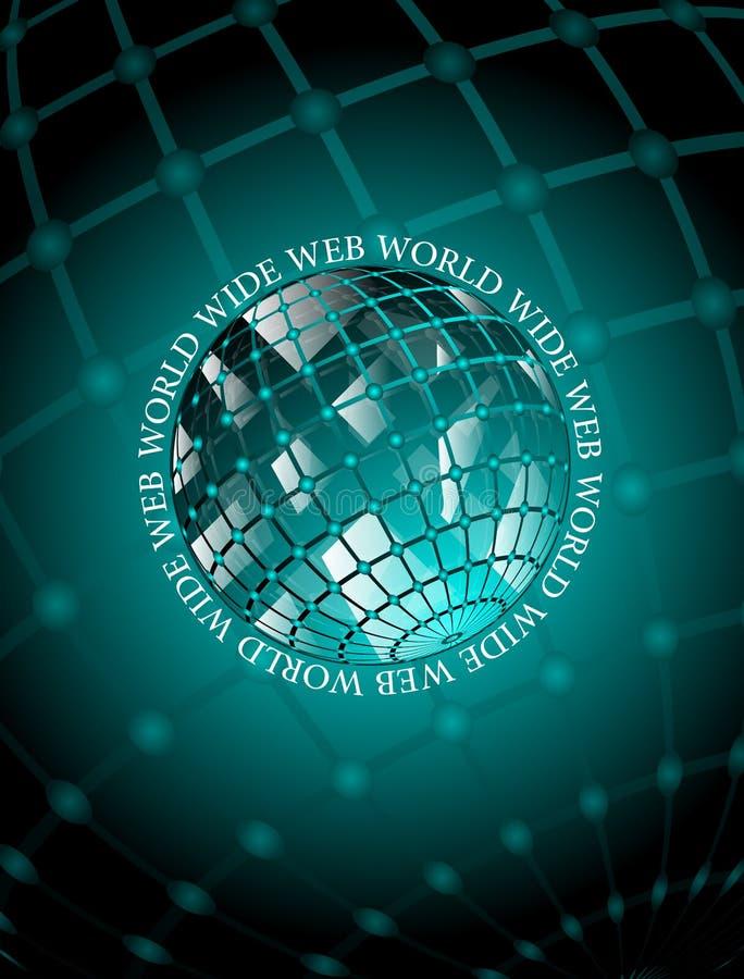 WWW world wide websymbol på svart bakgrund stock illustrationer
