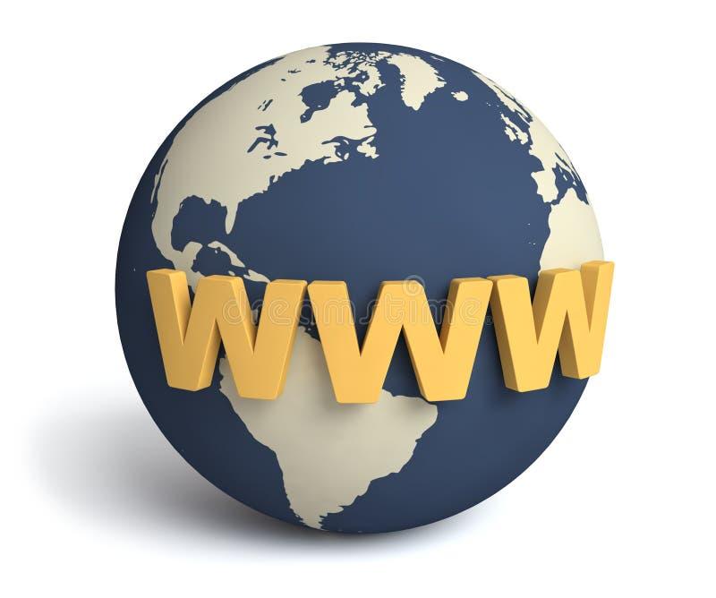 WWW y globo/concepto del Internet libre illustration