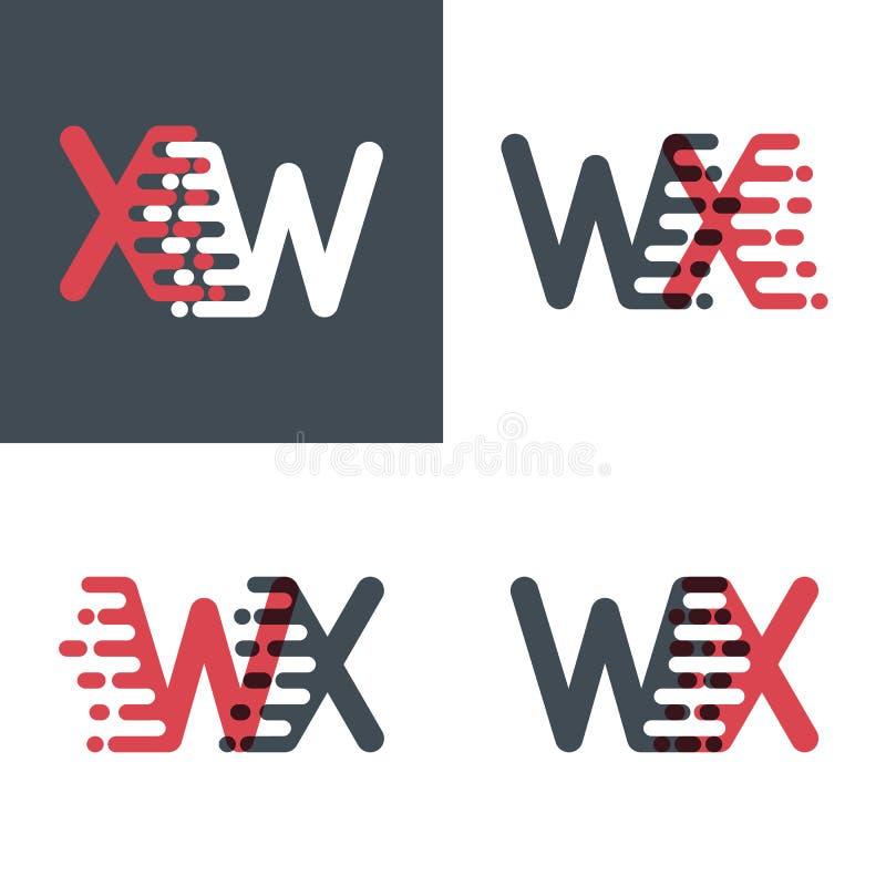 WX marque avec des lettres le logo avec le rose de vitesse d'accent et gris-foncé illustration libre de droits